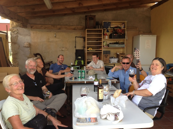 Singing and sharing wine with the French, English and US in Albergue in Hornillos