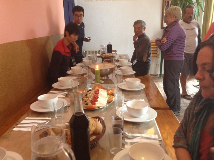 Dinner at our Hostel in Ruitelan. Incredible carrot soup and pasta