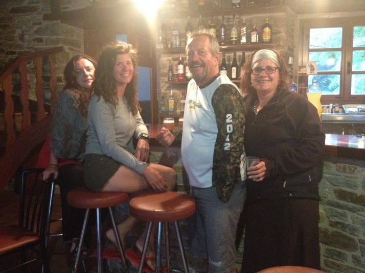 CIA Tribe - Sheyna, Jessica, Michael and Kim - planning our next leg with a bit of vino