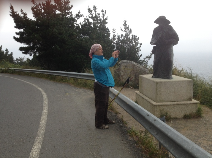Morgan taking picture of the Pilgram at the end