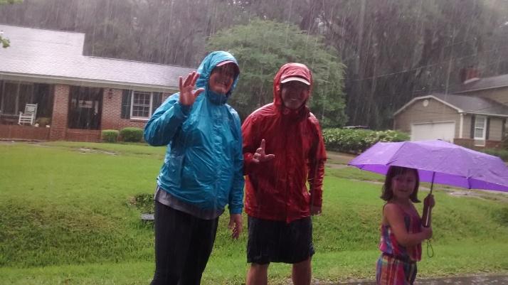 Nana, Pop Pop and Jillian in the rain