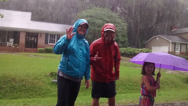 Nana, Pop Pop and Jillian in the rain